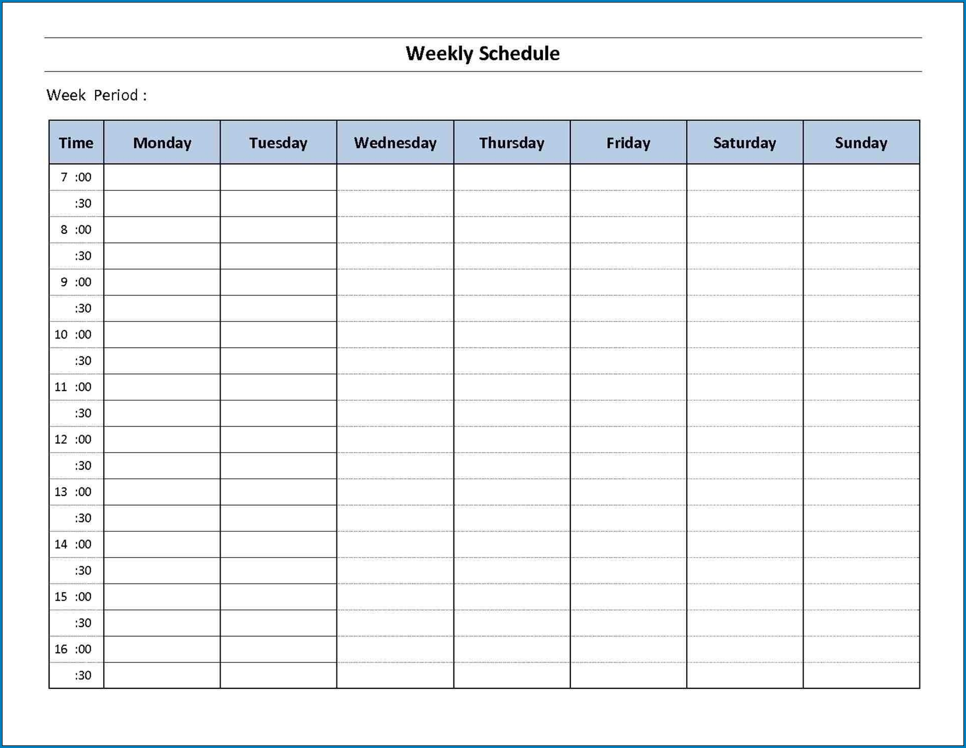 7 Day Schedule Template Sample
