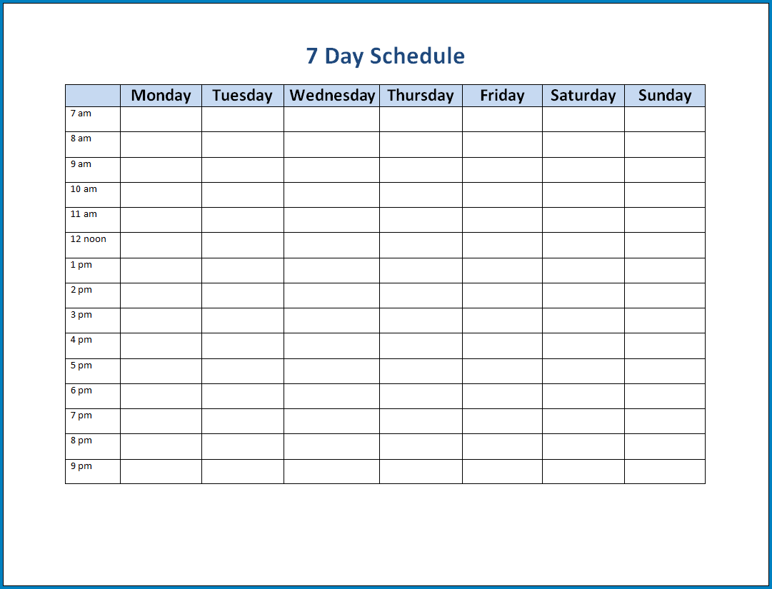 Free Printable 7 Day Schedule Template