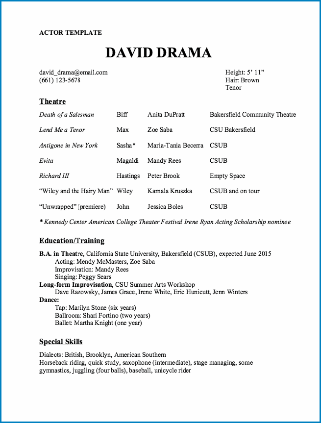 Acting Resume Template No Experience Example