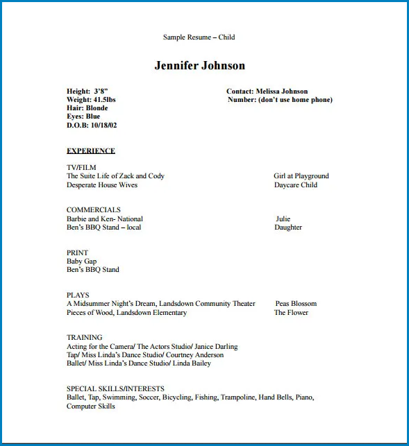 Acting Resume Template No Experience Sample