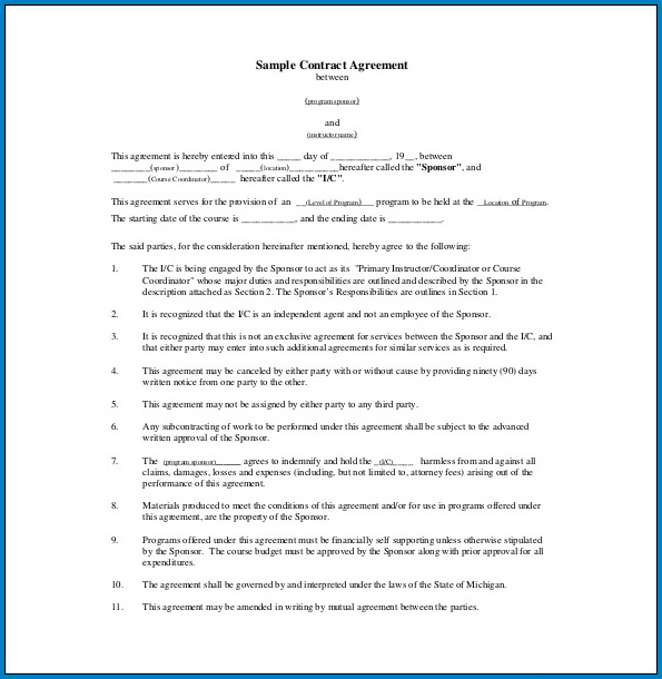 Free Printable Agreement Between Two Parties PDF