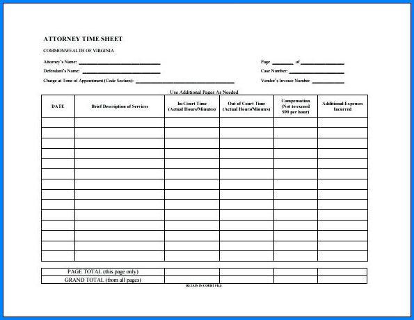 Attorney Timesheet Template Sample