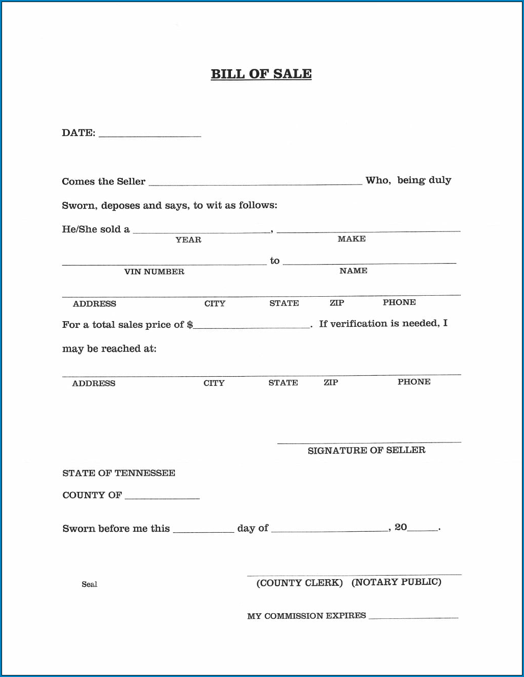 Automobile Bill Of Sale Template Example