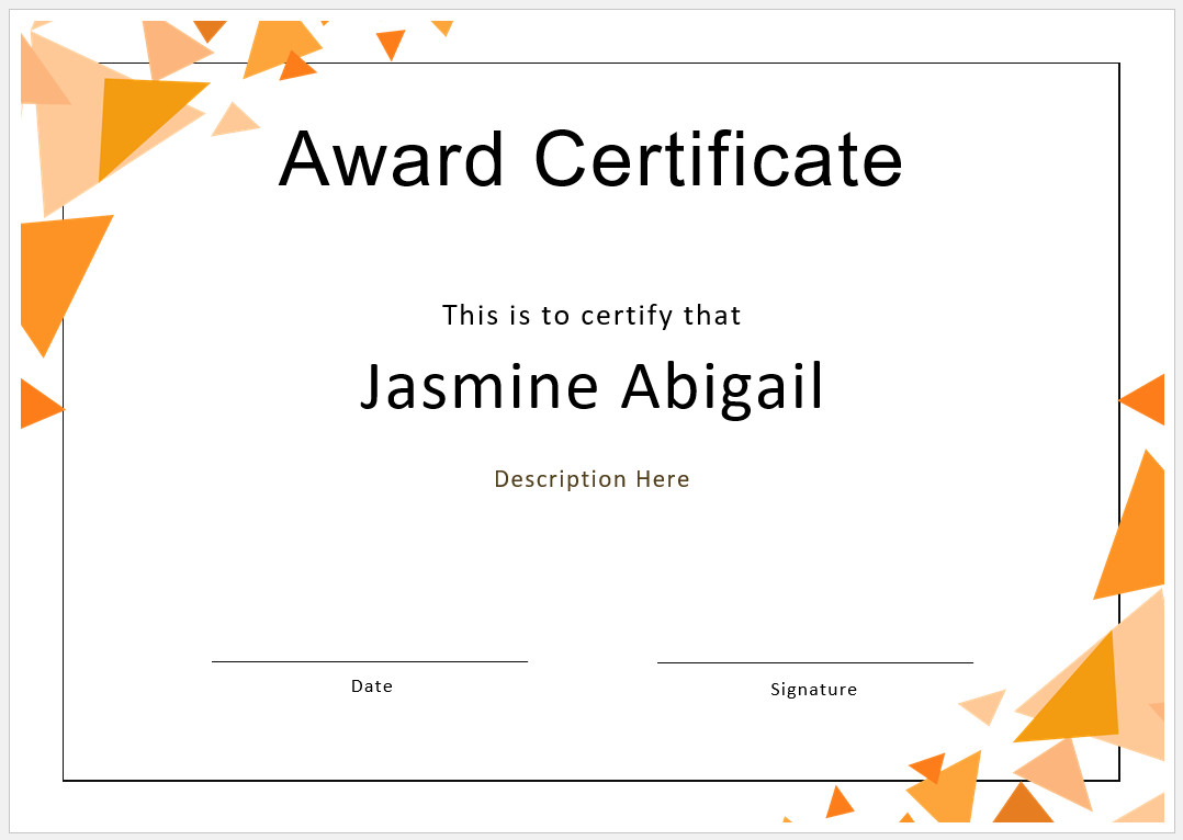 Free Printable Award Certificate Design