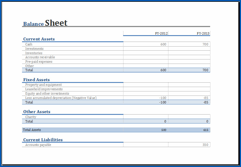 Balance Sheet Format Excel Example