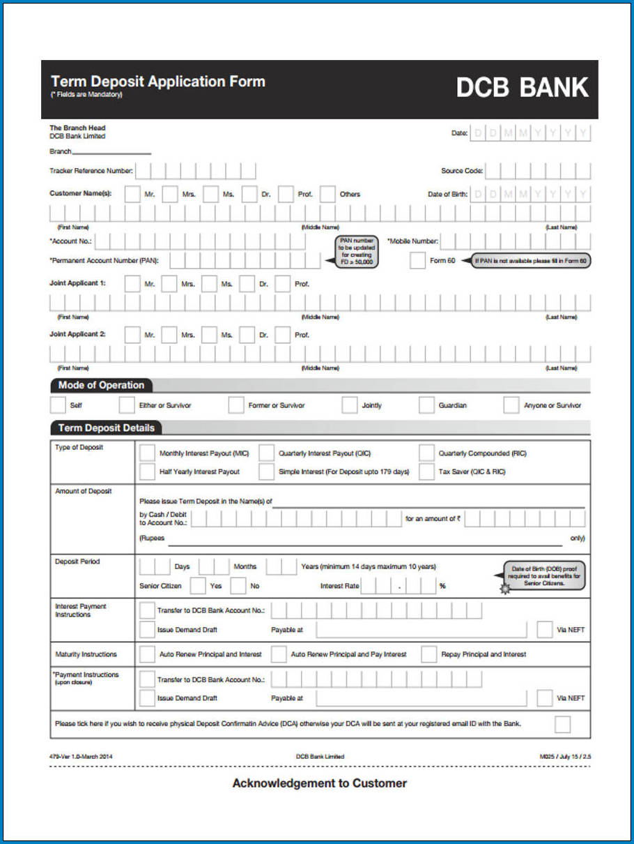 Bank Deposit Form Example
