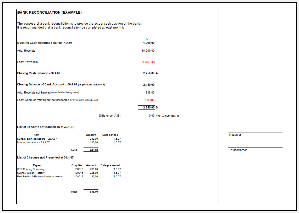 Free Printable Bank Reconciliation Template