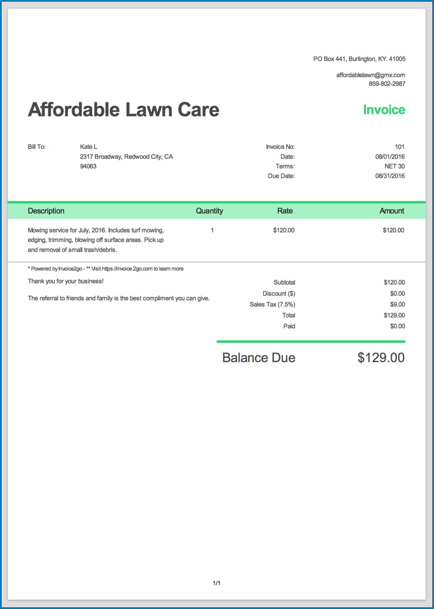 Basic Invoice Template Sample