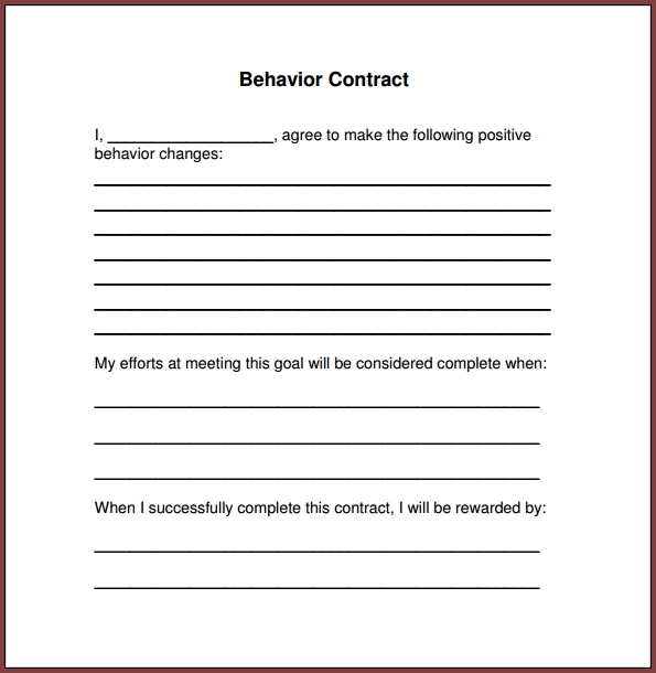 Behavior Contract Template For Adults Example
