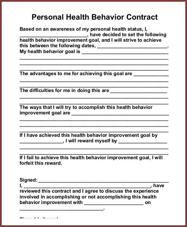 Behavior Contract Template For Adults Sample