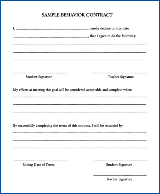 Behavior Contract Template Sample