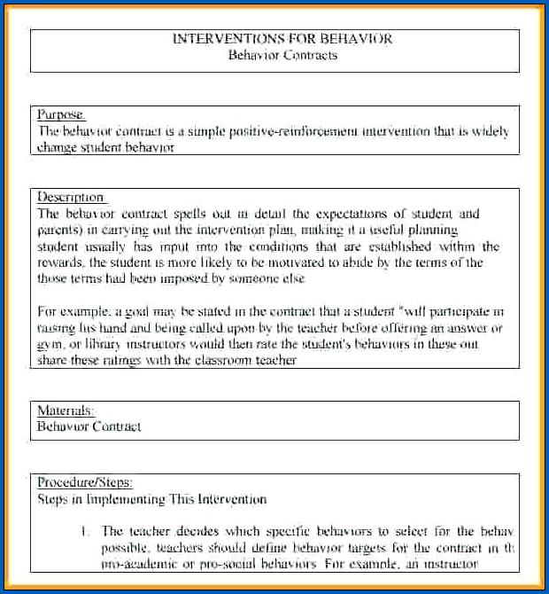 Behavior Contract for Teenager Example