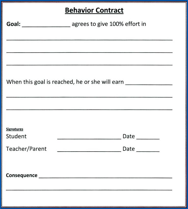 Behavior Contract for Teenager Sample