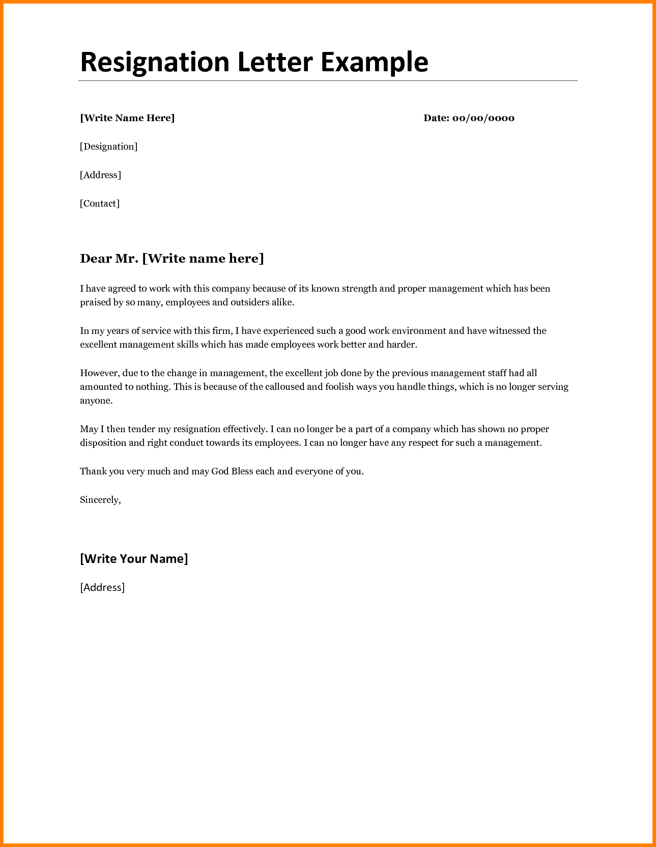 Best Resignation Letter Template Example