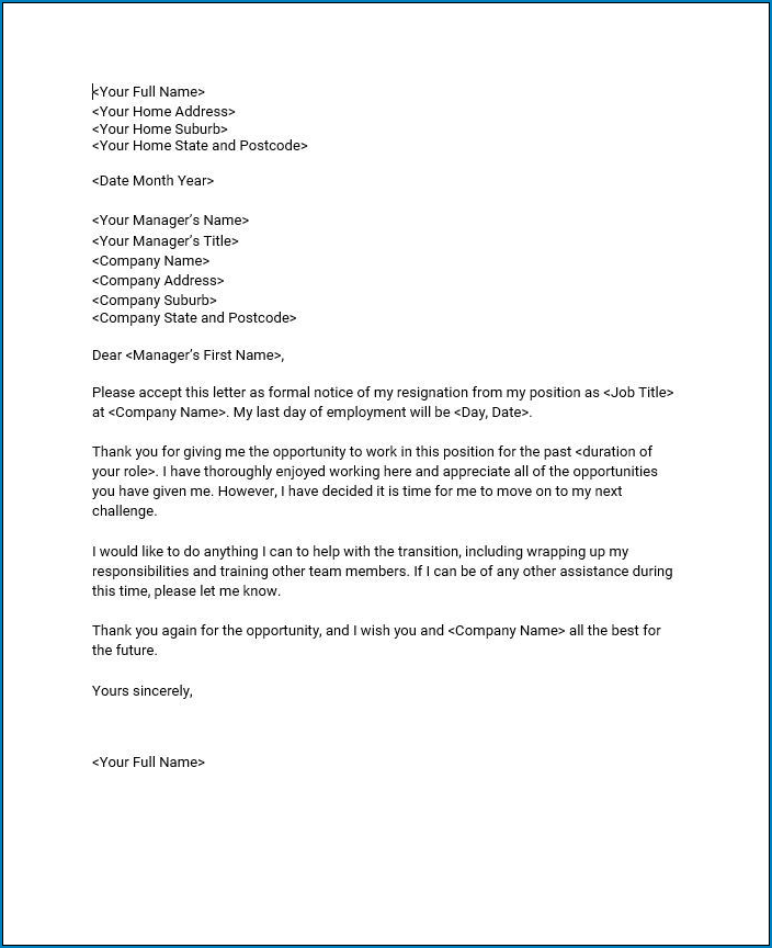 Best Resignation Letter Template Sample