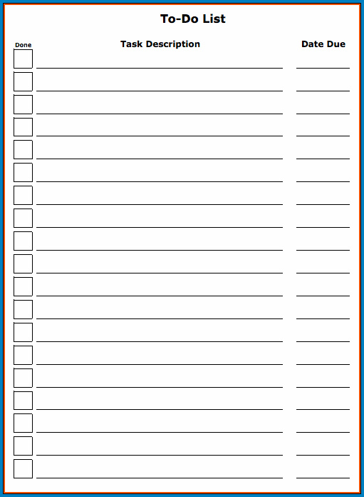 Best To Do List Template Example