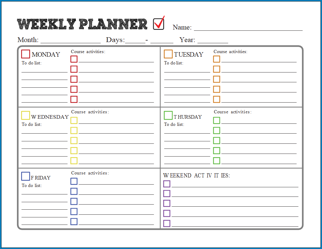Free Printable Best Weekly Planner Template