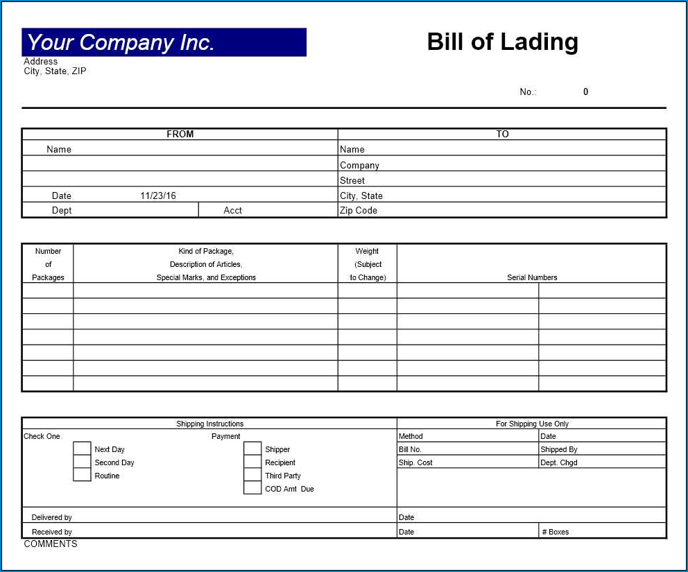 Bill Of Lading Template Example