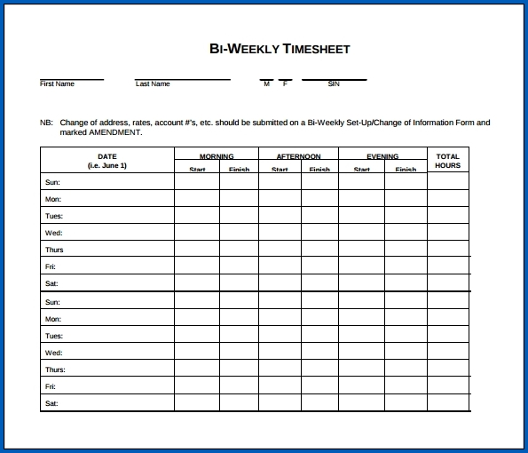 Biweekly Timesheet Template Sample