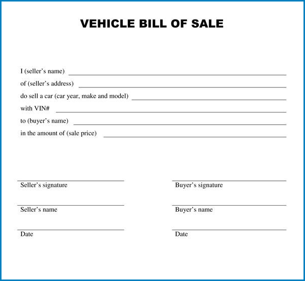 Blank Bill Of Sale Template Example