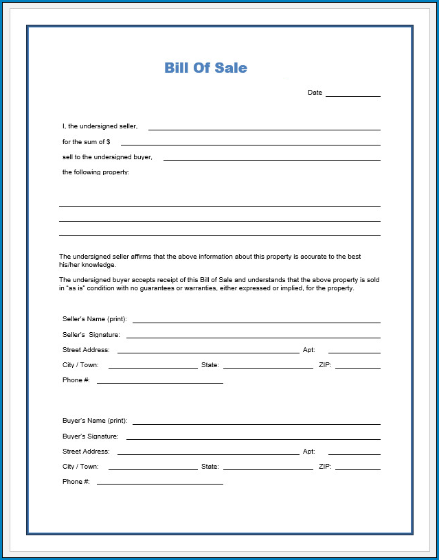 Free Blank Bill Of Sale Template