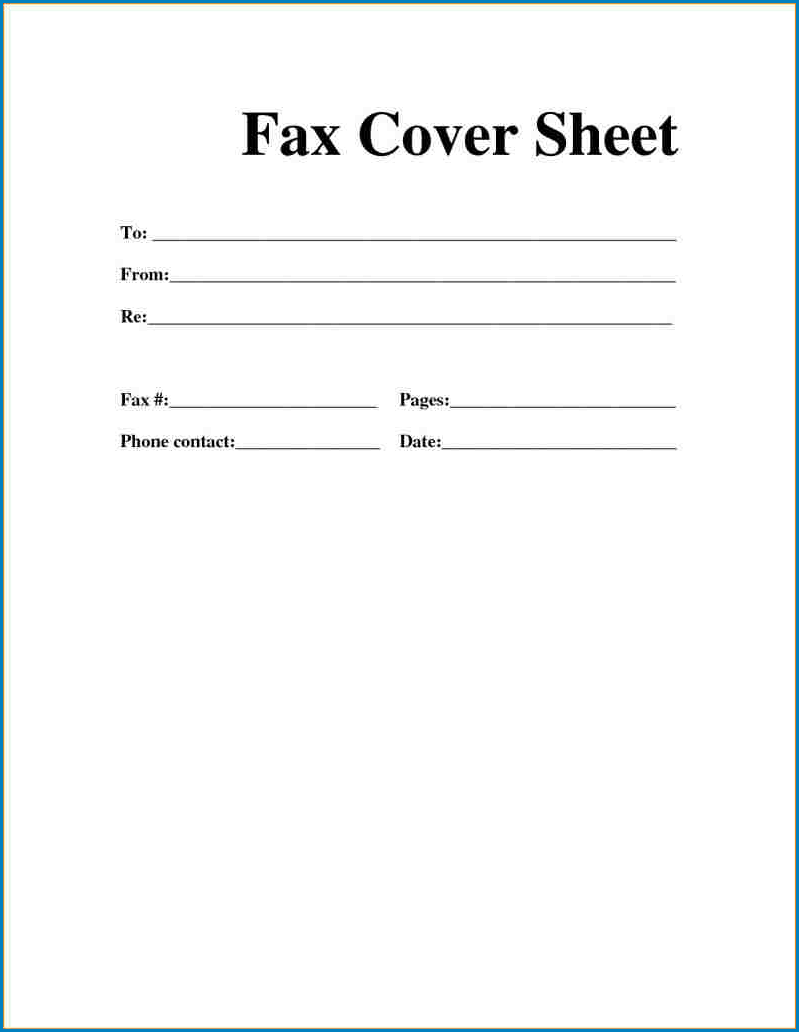 Blank Fax Cover Sheet Template Example