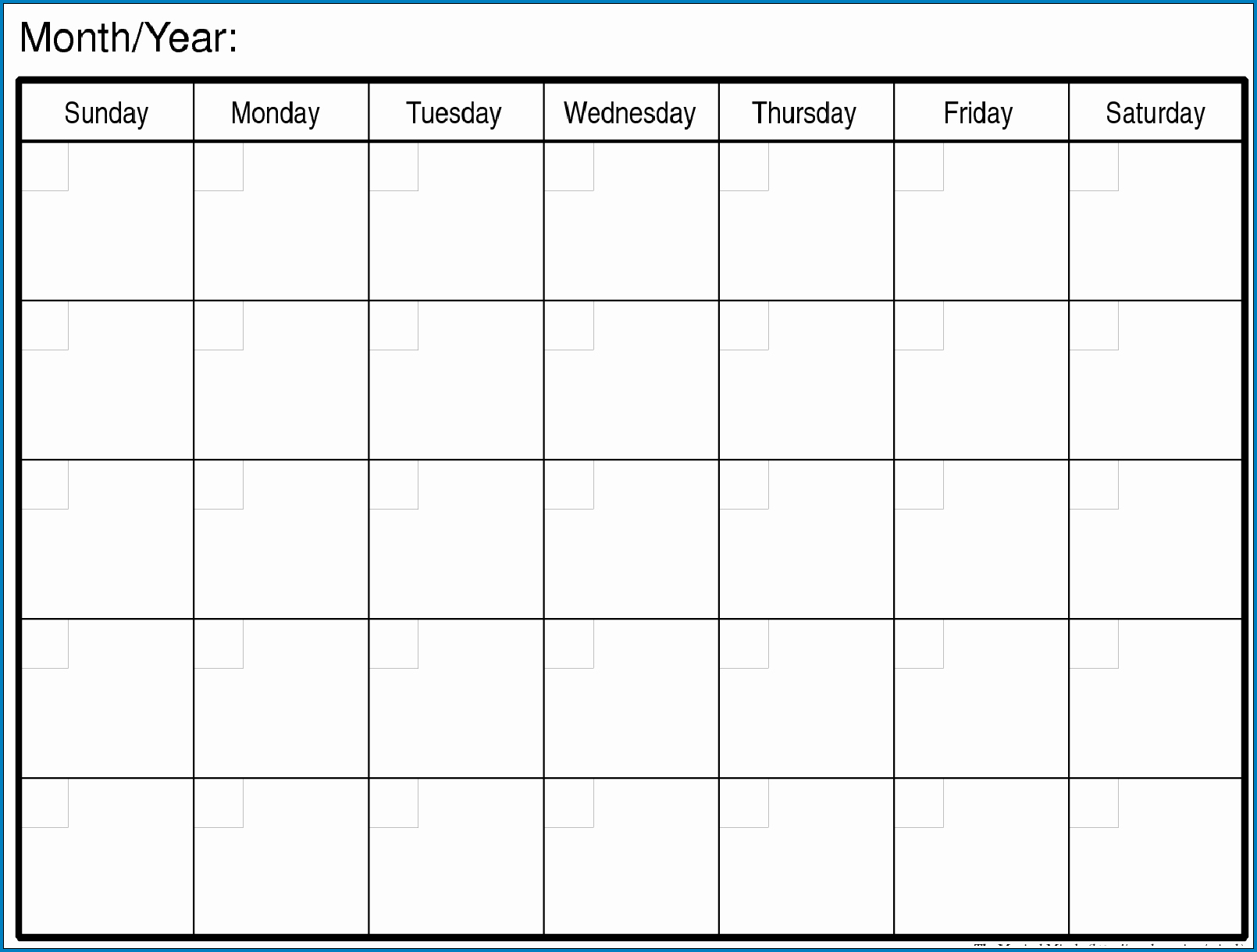 Blank Monthly Calendar Template Example