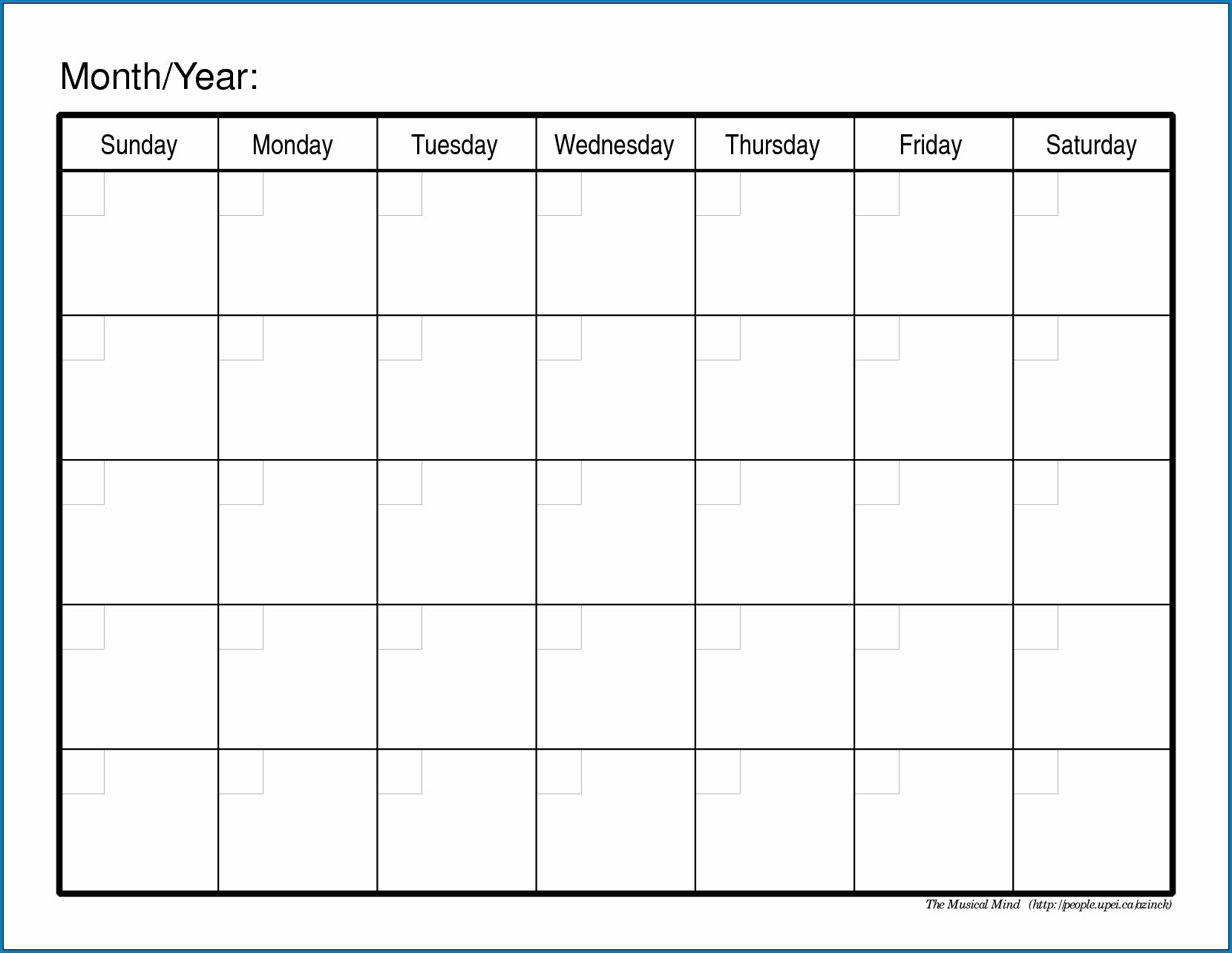 Blank Monthly Calendar Template Sample