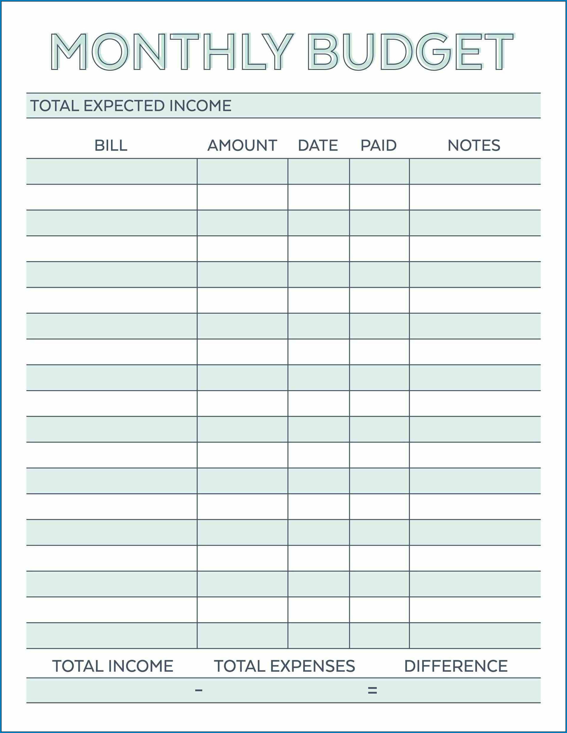 Budget Planner Template Example