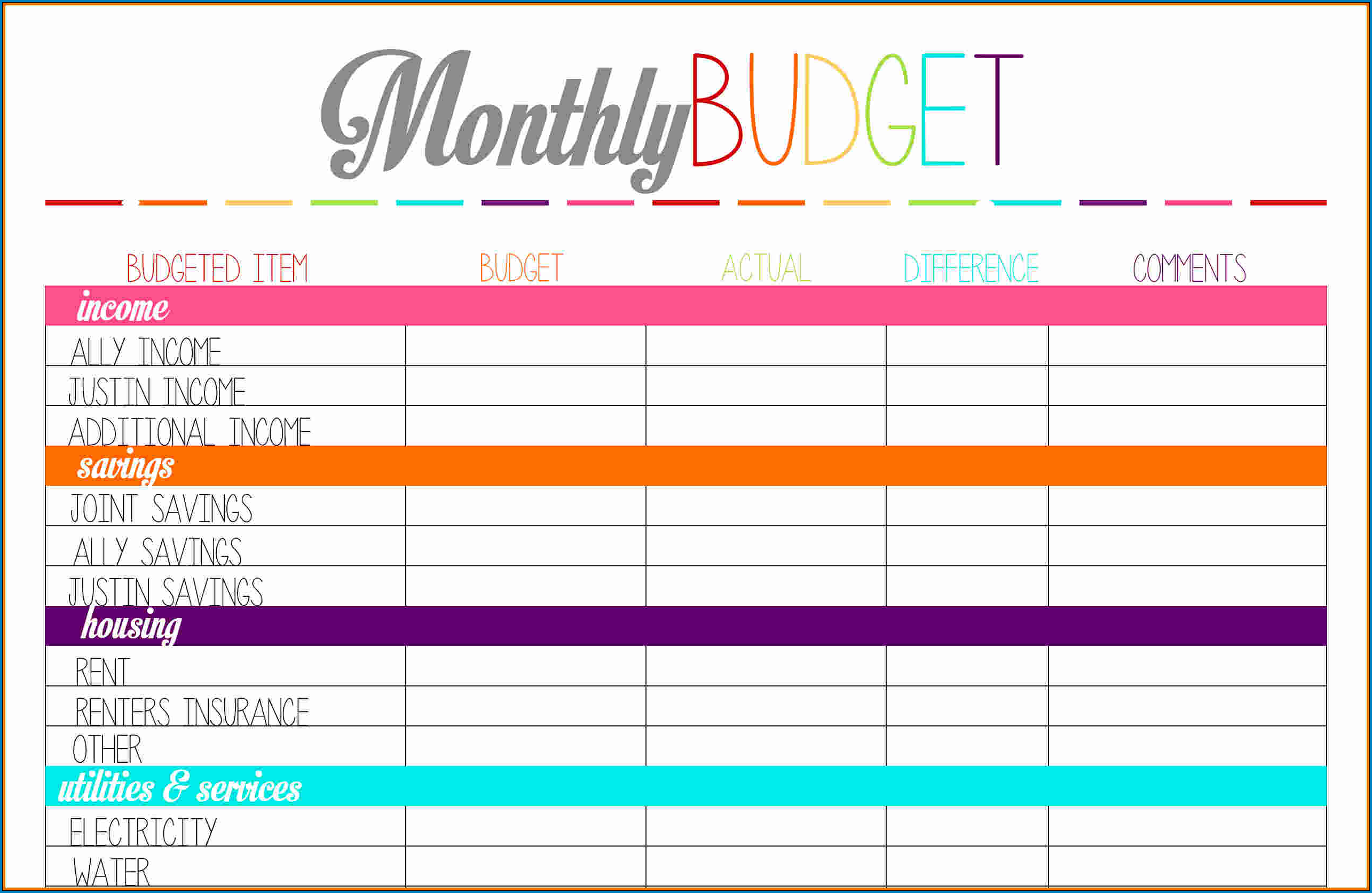 Budget Planner Template Sample