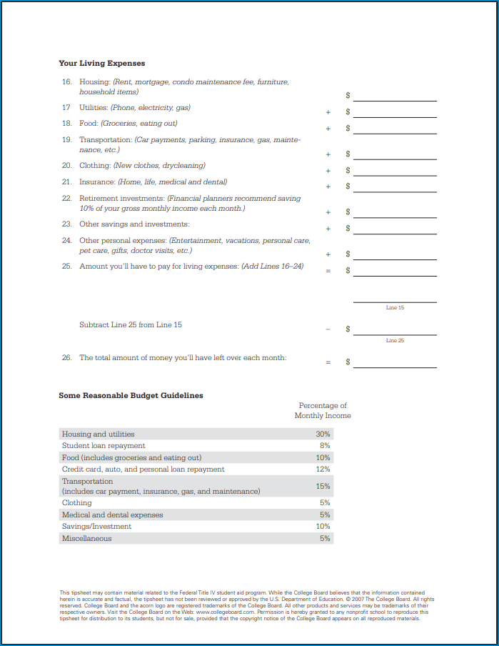 Budget Template For College Students Sample