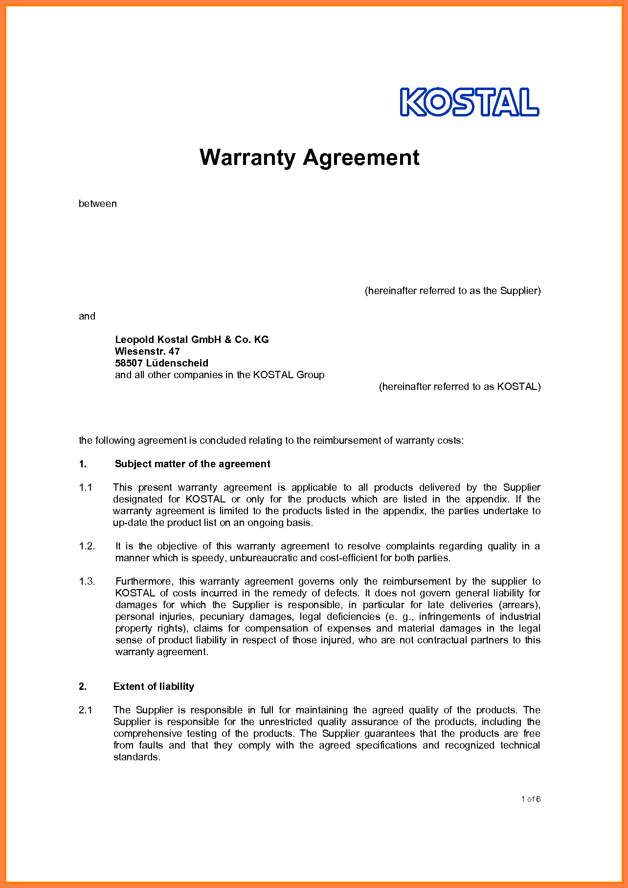 Business Agreement Between Two Parties Example