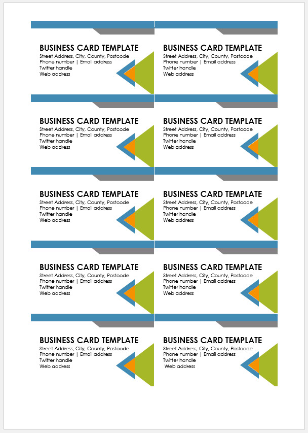 Free Printable Business Card Template Templateral