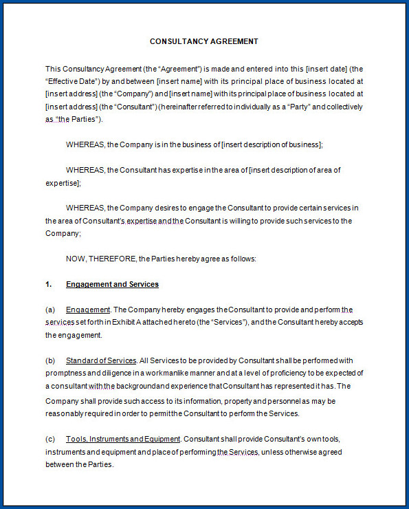 Business Consultant Contract Agreement Template Example
