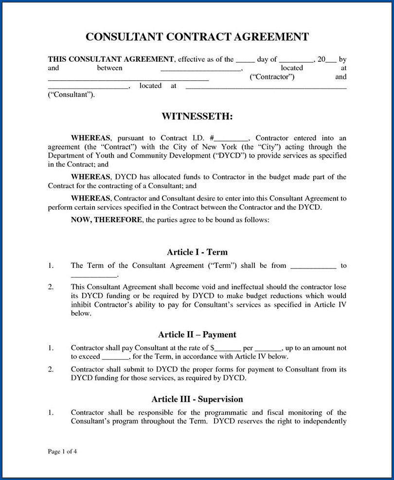 Business Consultant Contract Agreement Template Sample