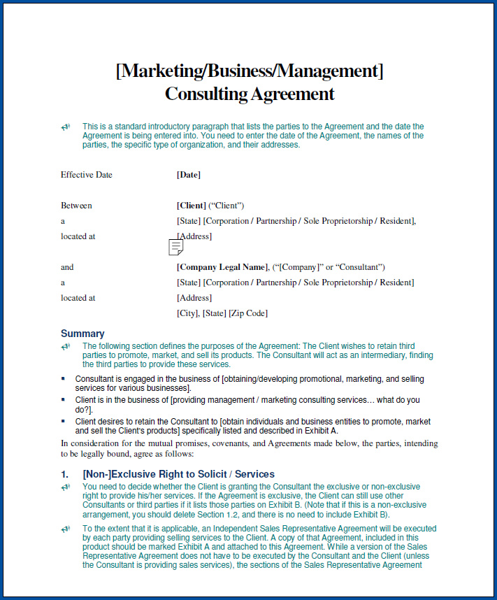 Free Printable Business Consultant Contract Agreement Template