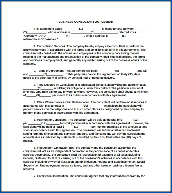 Business Consulting Contract Template Example