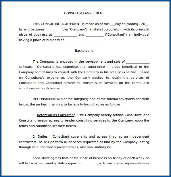 Business Consulting Contract Template Sample