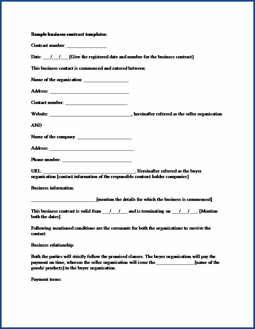 Business Contract Template Example