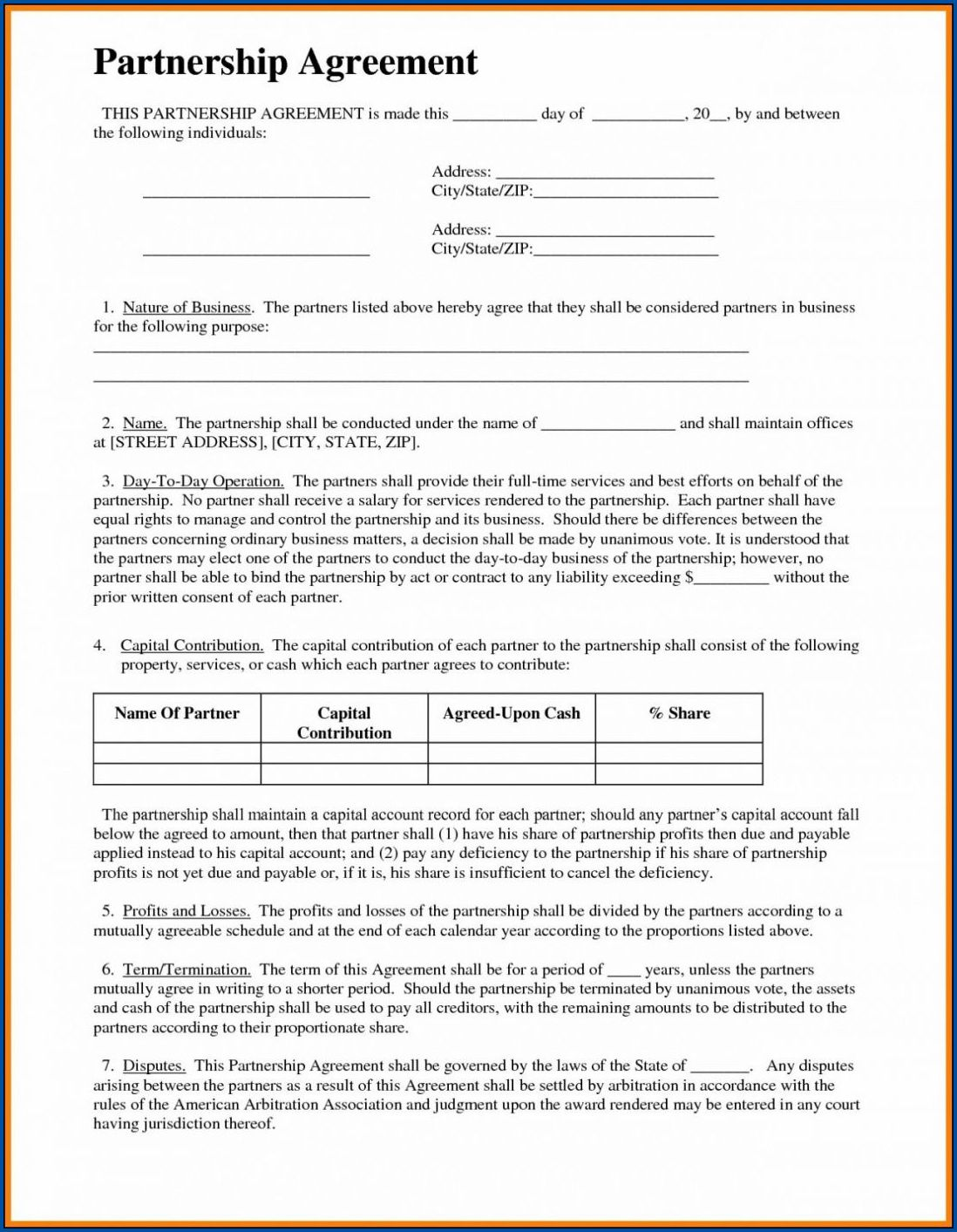 Business Contract Template Sample