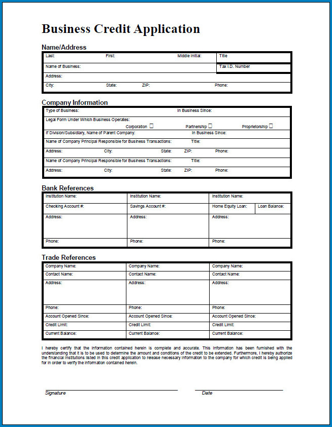 free printable business credit application form template
