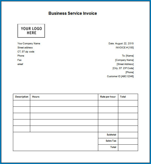 Business Invoice Template Sample