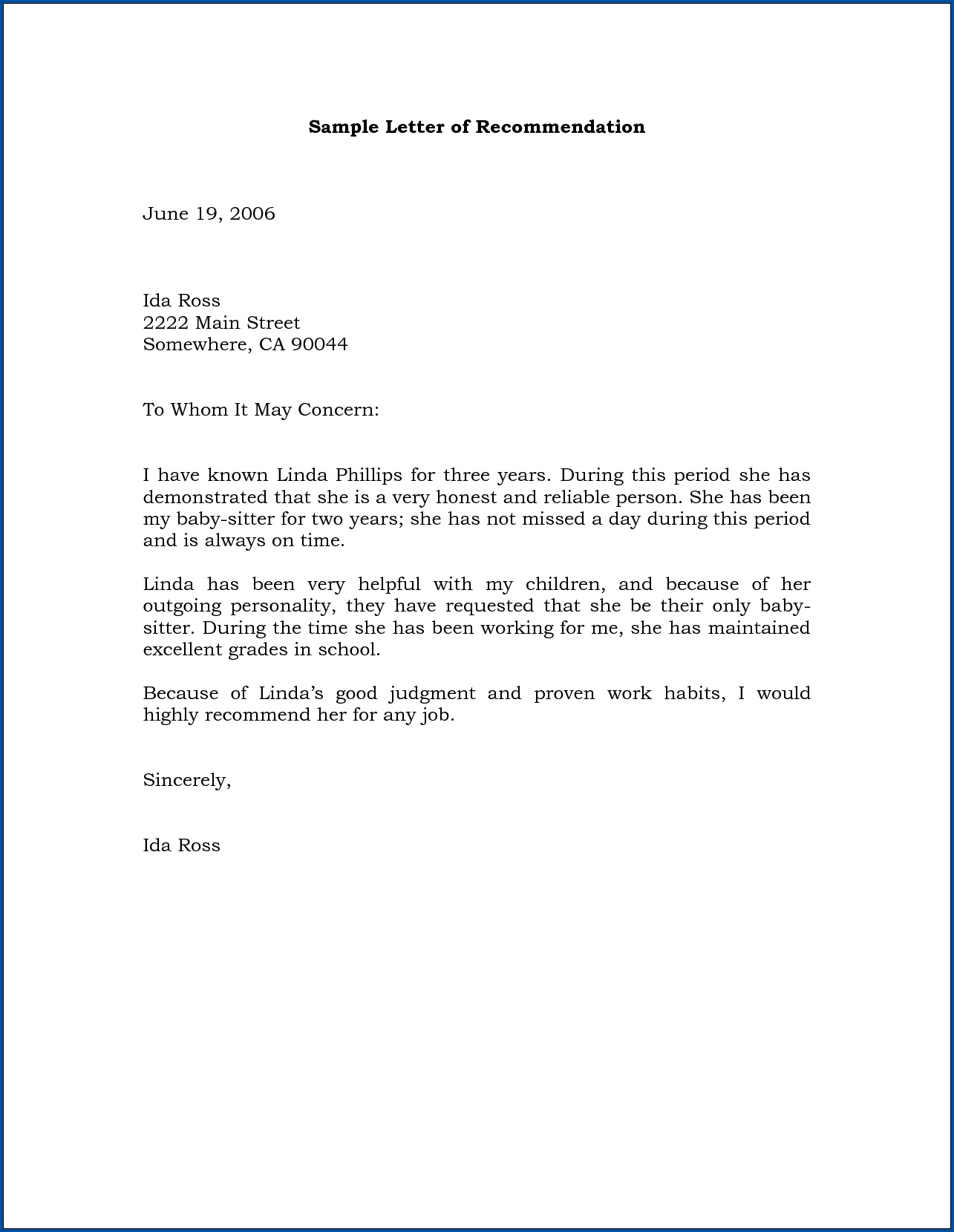 Business Letter Of Recommendation Template Example