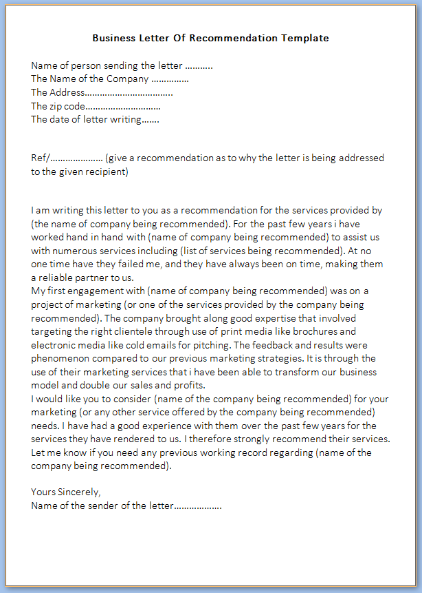 Free Printable Business Letter Of Recommendation Template