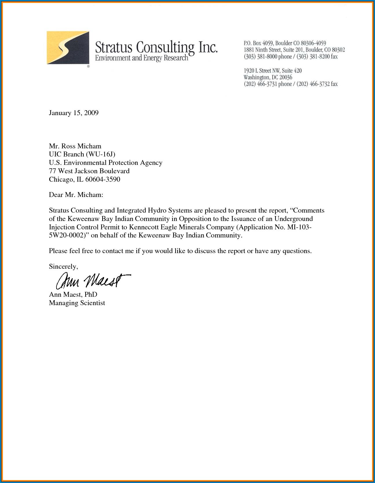 Business Letter Template Sample