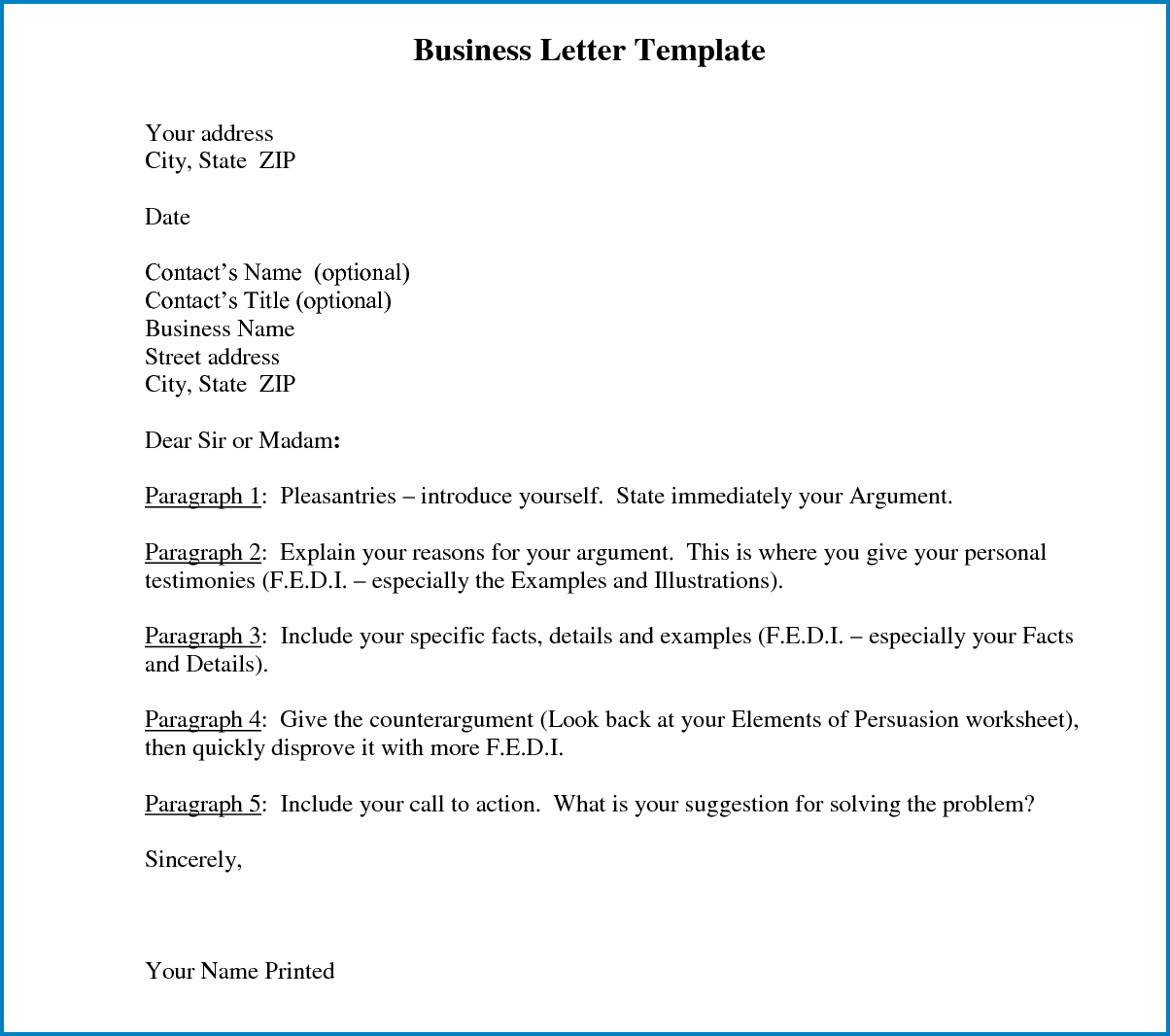 Business Letter Template Word Sample