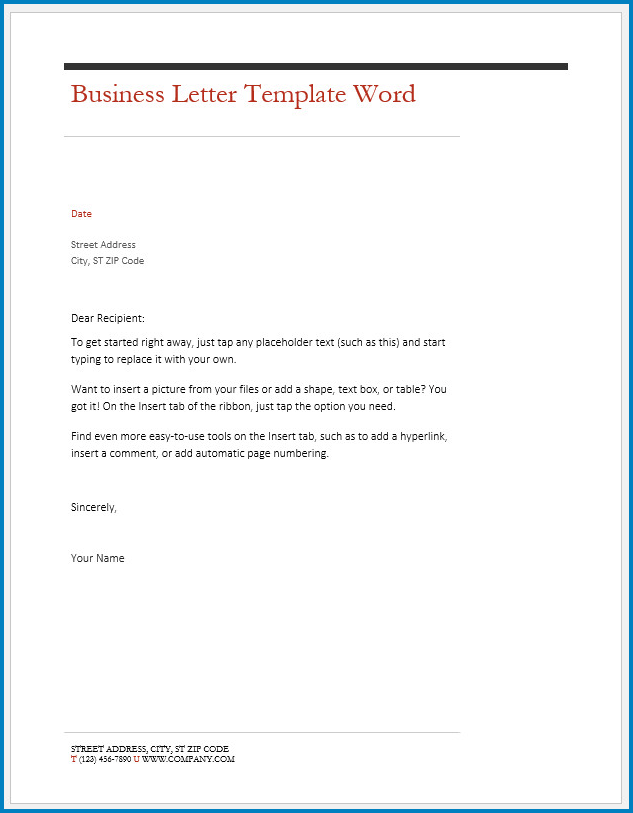 Free Printable Business Letter Template Word