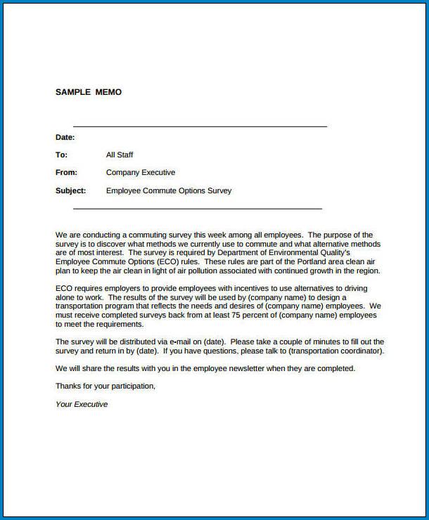 Business Memo Format Example