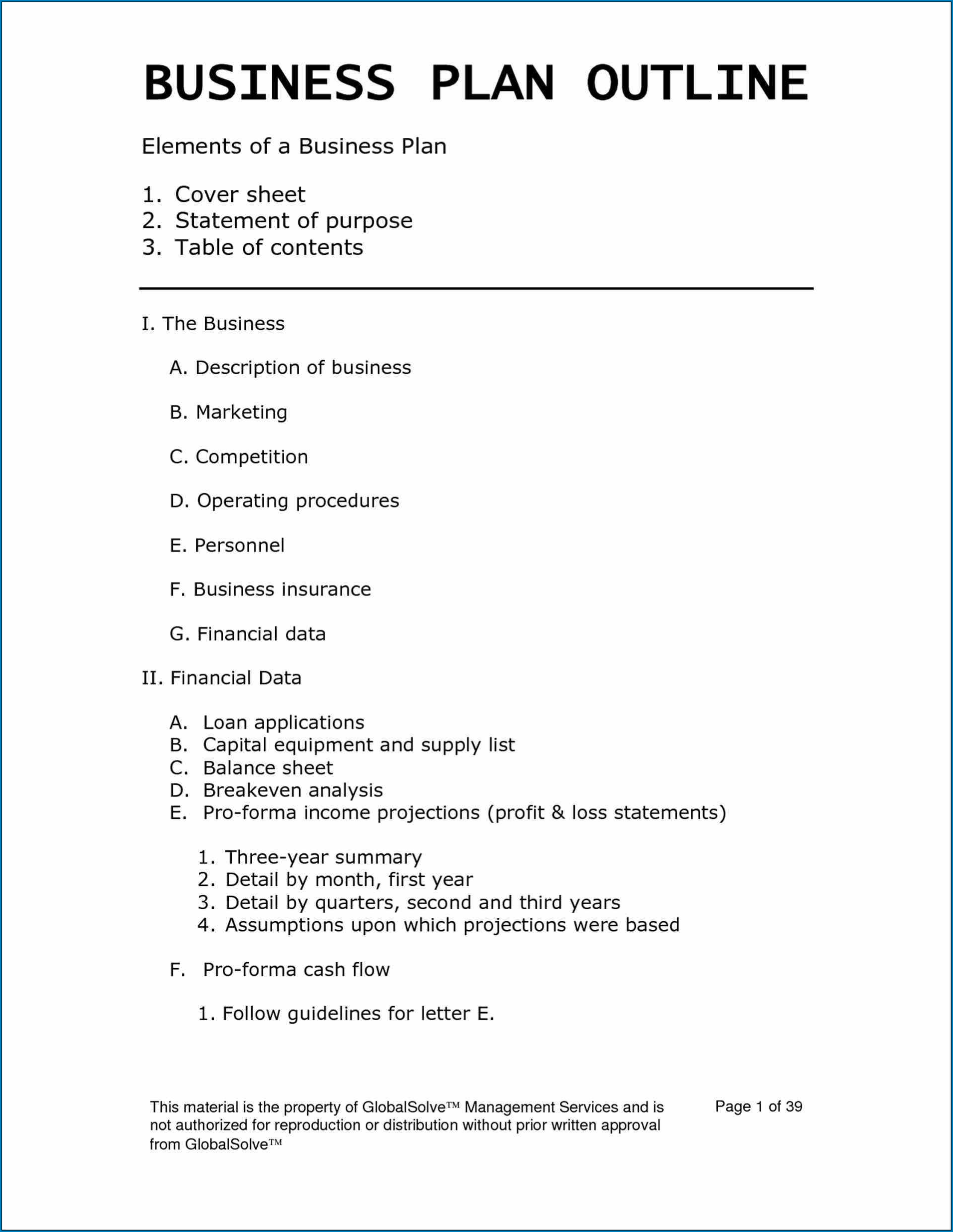 Business Plan Template Word Example