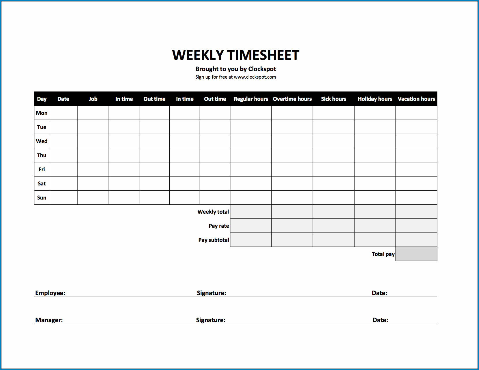 Business Timesheet Template Example